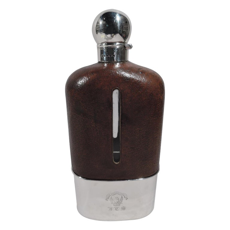 Jumbo Big Game-Era English Sterling Silver Safari Flask