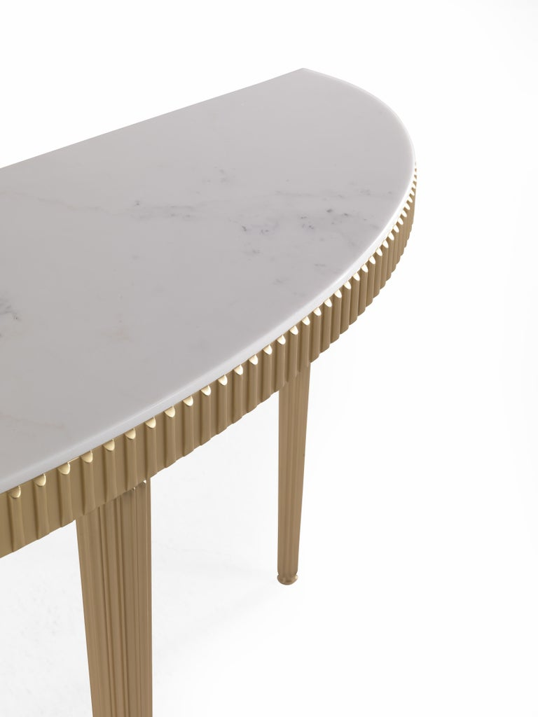 Modern Jumbo Collection Andromeda Console Table in Brass and Marble Top For Sale