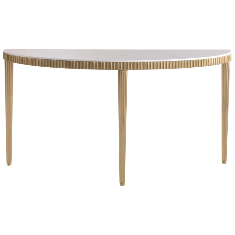 Jumbo Collection Andromeda Console Table in Brass and Marble Top For Sale