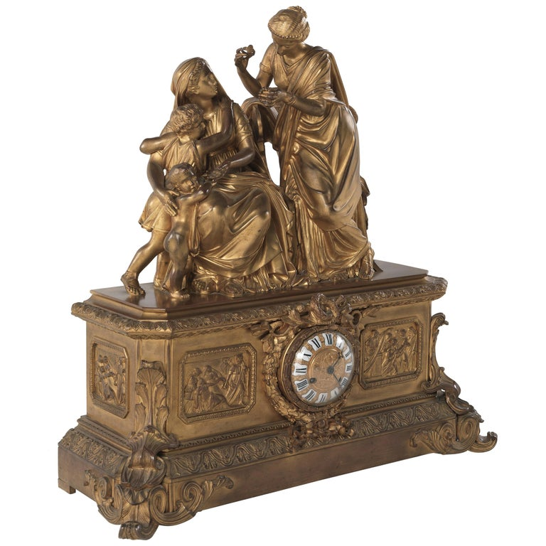 Jumbo Collection Antique French Ormolu  Mantel Clock For Sale
