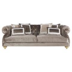 Jumbo Collection Burton Brown 3-Seat Sofa in Wood and Fabric