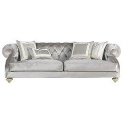 Jumbo Collection Burton Grey 3-Seat Sofa in Wood and Fabric