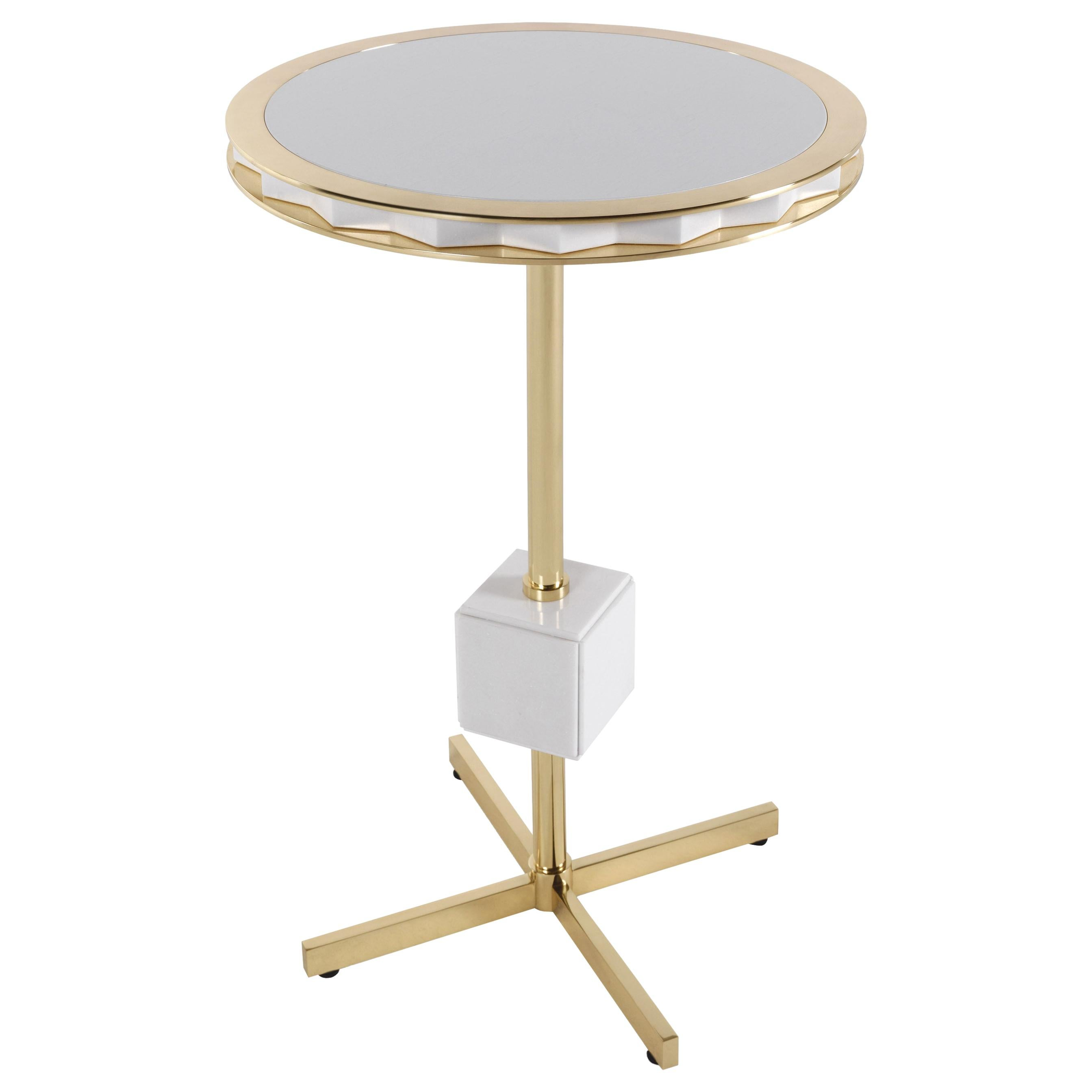 Jumbo Collection Emily Center Table in Brass with Onyx Top