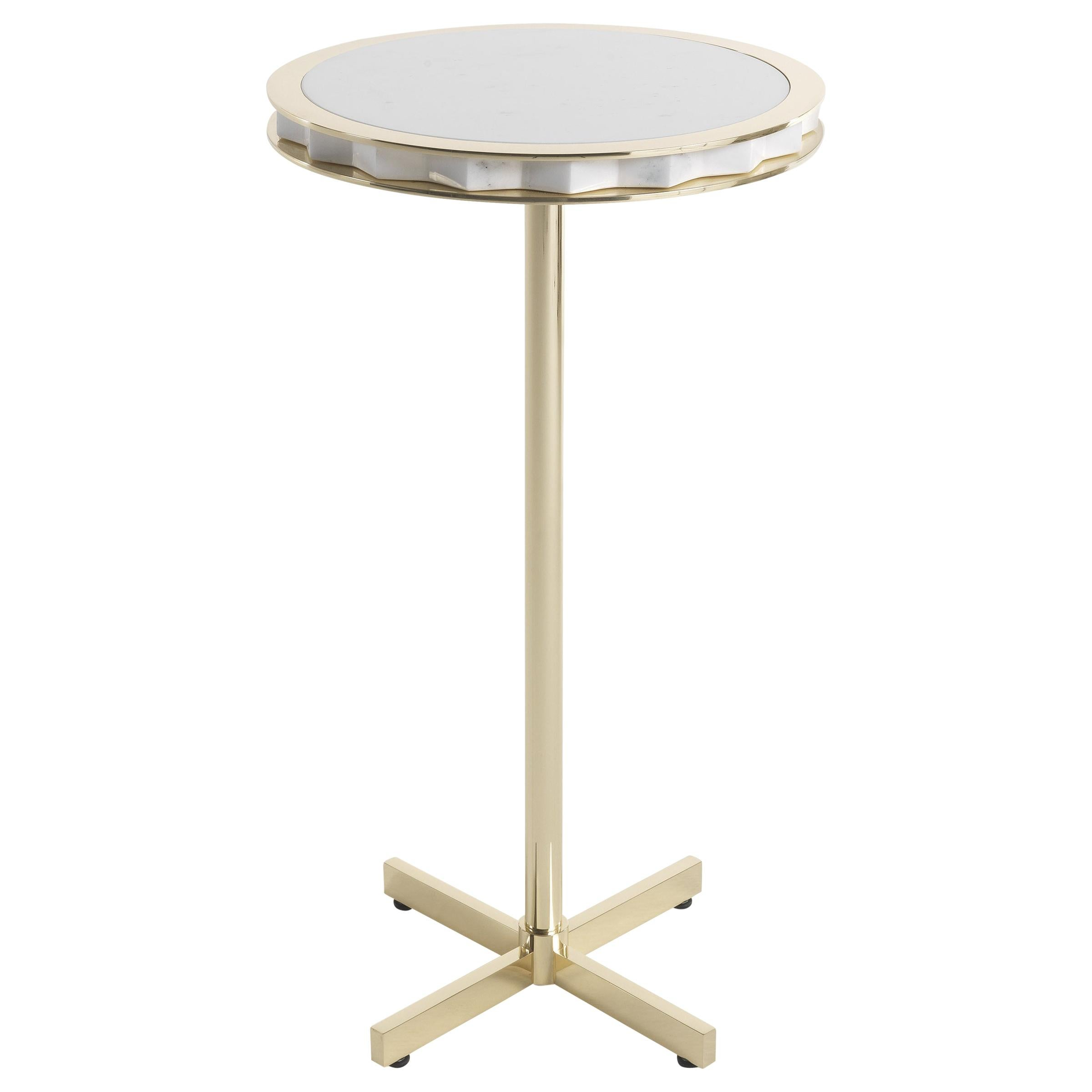 Jumbo Collection Emily Side Table in Brass with Marble Top