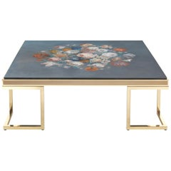 Jumbo Collection Folies Square Table in Brass and Wood Top