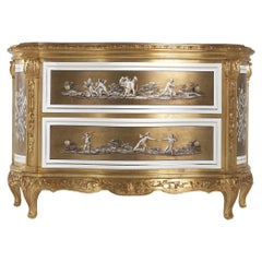 Jumbo Collection Fragonard Baroque Style Chest of Drawer in Wood with Onyx Top