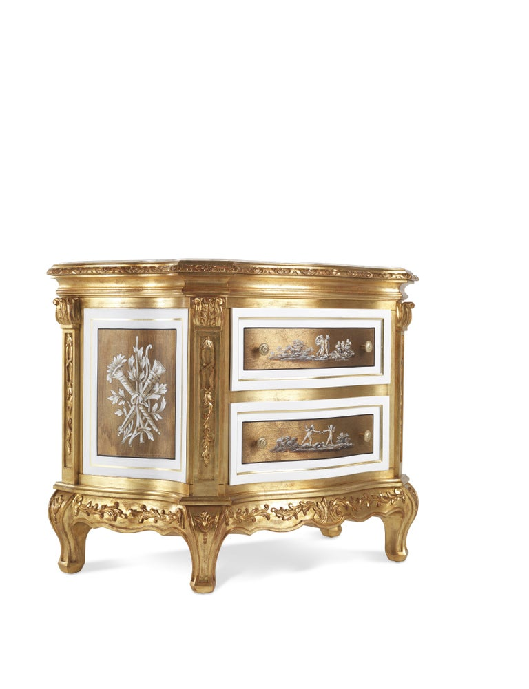 Jumbo Collection Fragonard night table in wood with onyx top.