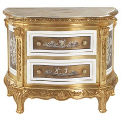 Jumbo Collection Fragonard Baroque Style Night Table in Wood with Onyx Top