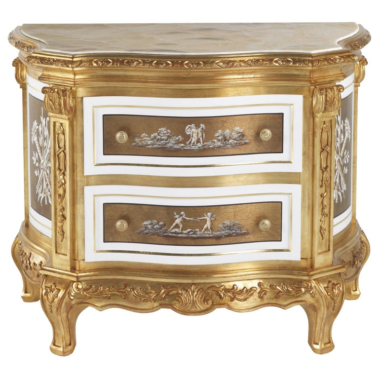 Jumbo Collection Fragonard Baroque Style Night Table in Wood with Onyx Top For Sale
