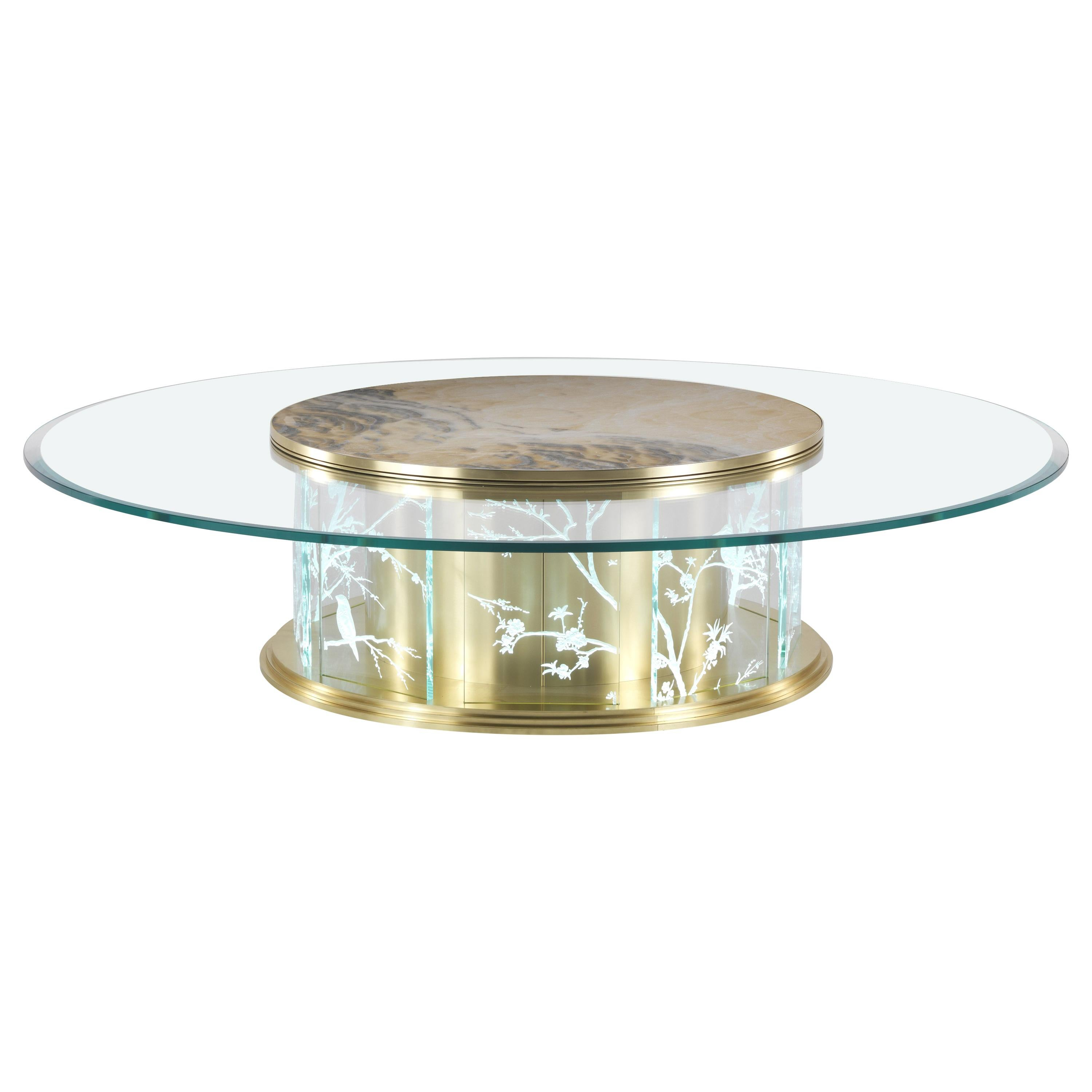 Jumbo Collection Fuji Center Table in Brass and Glass Top