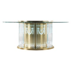 Jumbo Collection Fuji Dining Table in Brass and Glass Top