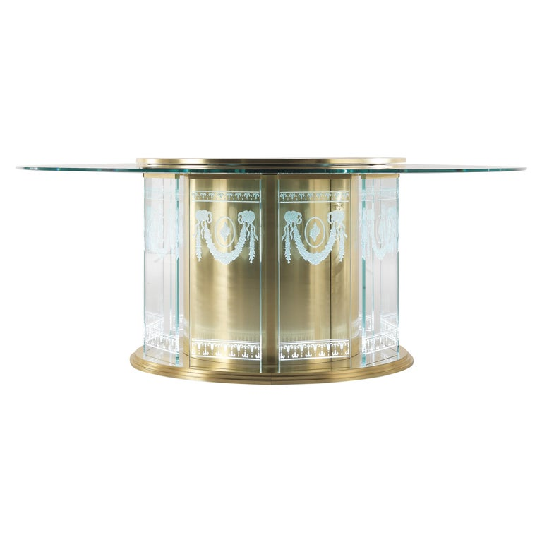 Jumbo Collection Fuji Dining Table in Brass and Glass Top For Sale