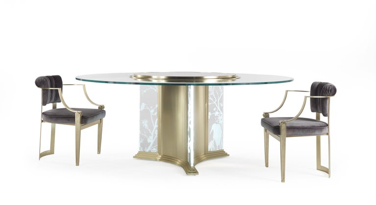 Jumbo Collection Fuji Round Dining Table in Brass and Glass with Onyx Top For Sale 5