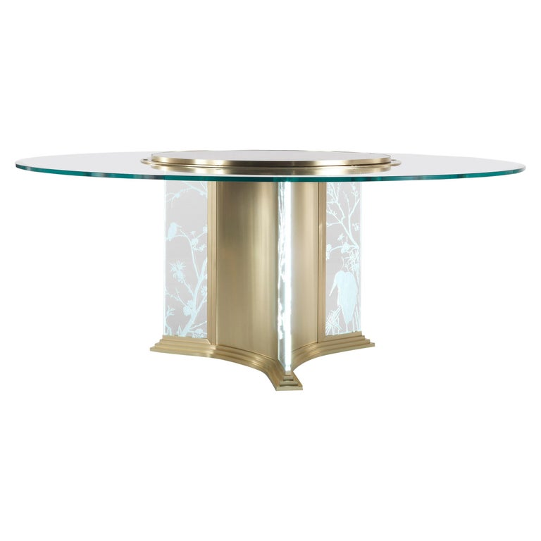 Jumbo Collection Fuji Round Dining Table in Brass and Glass with Onyx Top For Sale