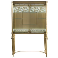 Jumbo Collection Fuji Showcase in Brass and Glass with Greek Decoration