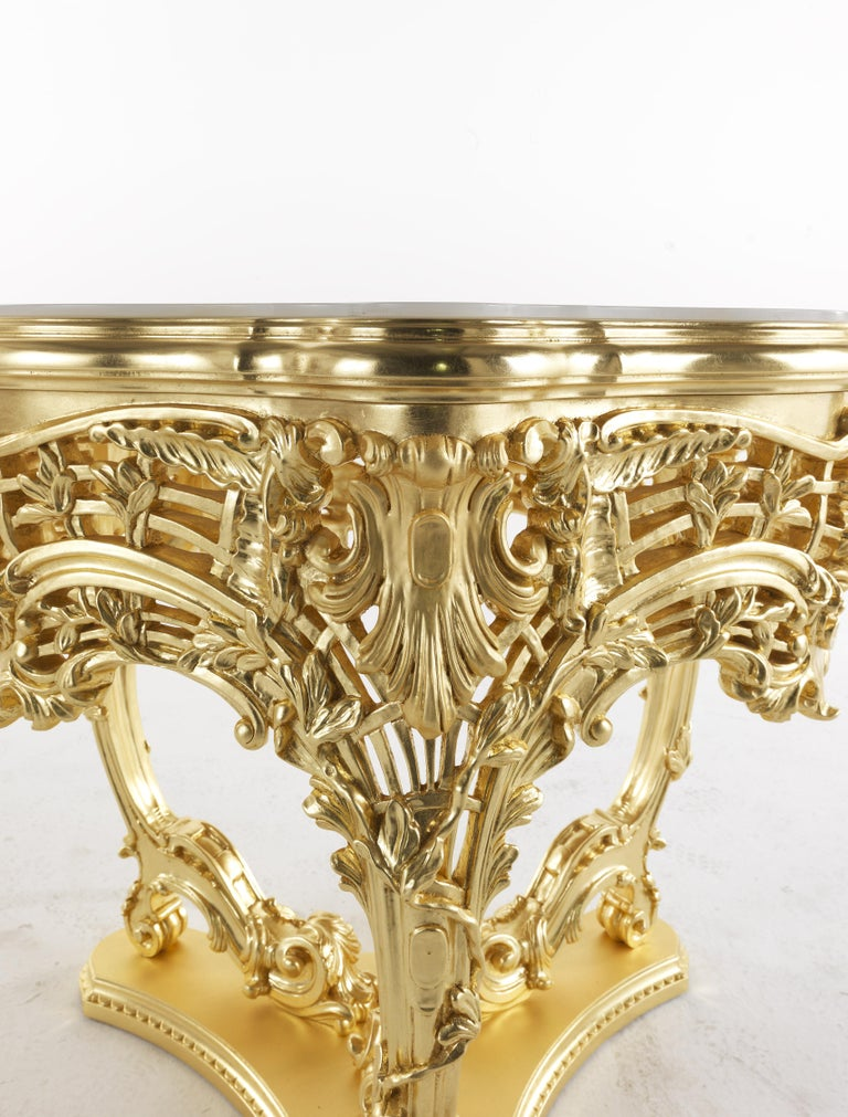 Italian Jumbo Collection Helios Center Table in Gold Finish with White Onyx Top For Sale