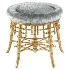 Jumbo Collection Hiroko Stool in Wood and Fabric