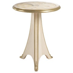 Jumbo Collection Madeleine Side Table in Wood and Onyx Top
