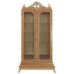 Jumbo Collection Pleasure 2 Door Display Cabinet in Maple and Brass