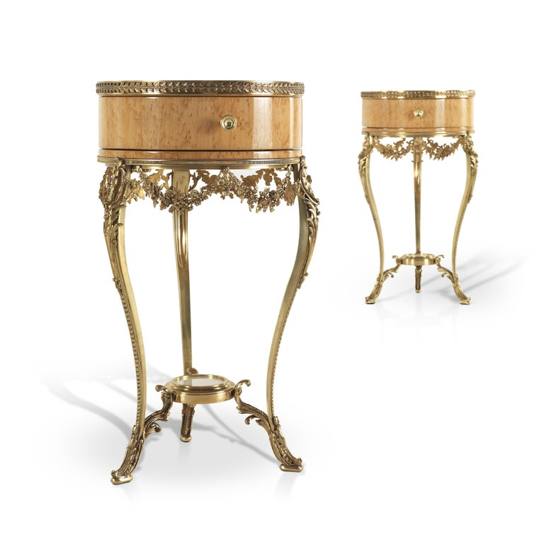 Italian Jumbo Collection Pleasure Nightstand in Wood and Brass Base For Sale