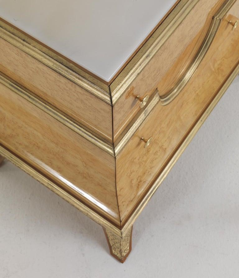 Italian Jumbo Collection Pleasure Nightstand in Wood and Onyx Top For Sale
