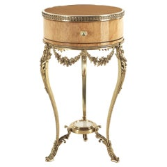 Jumbo Collection Pleasure Nightstand in Wood and Brass Base
