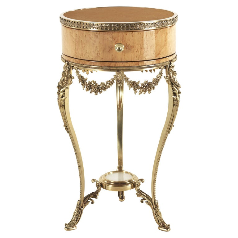 Jumbo Collection Pleasure Nightstand in Wood and Brass Base For Sale