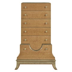 Jumbo Collection Pleasure Tall Chests of Drawers in Wood and Onyx Top