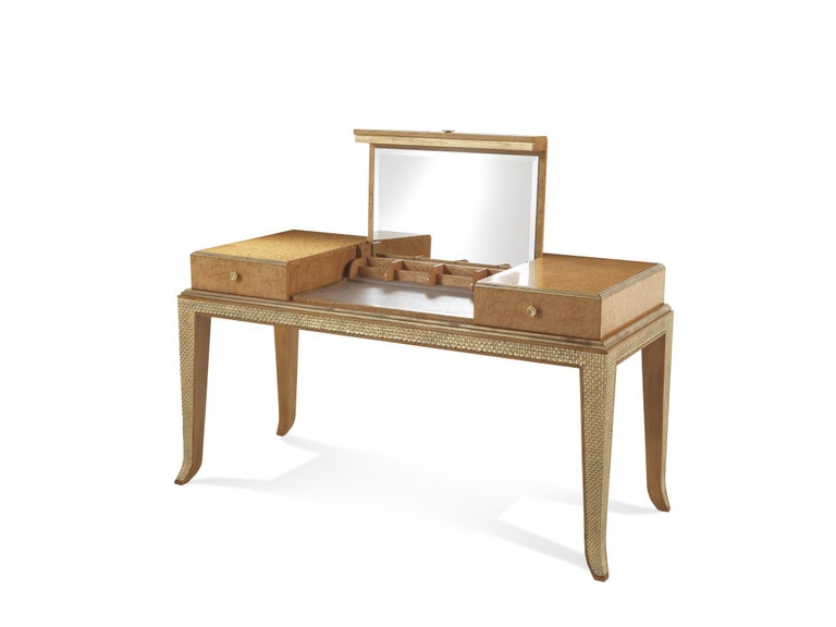 Jumbo Collection Pleasure toilette in wood with gold and drawer in leather.  Materials: Pleasure toilette. Structure in maple wood with erable and gold finishing JG286. Internal drawers and top in antique leather. Dimensions: W. 161 x D. 65 x H.