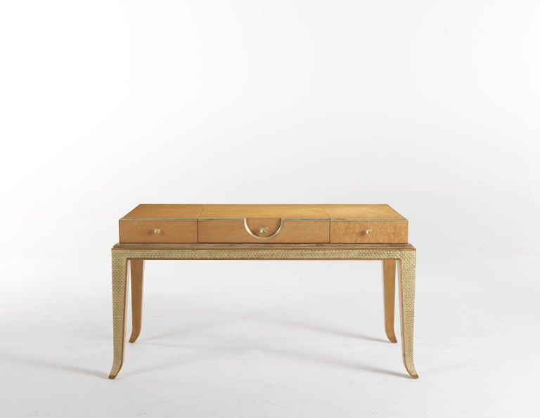 Modern Jumbo Collection Pleasure Toilette Dressing Table in Wood and Drawer in Leather For Sale