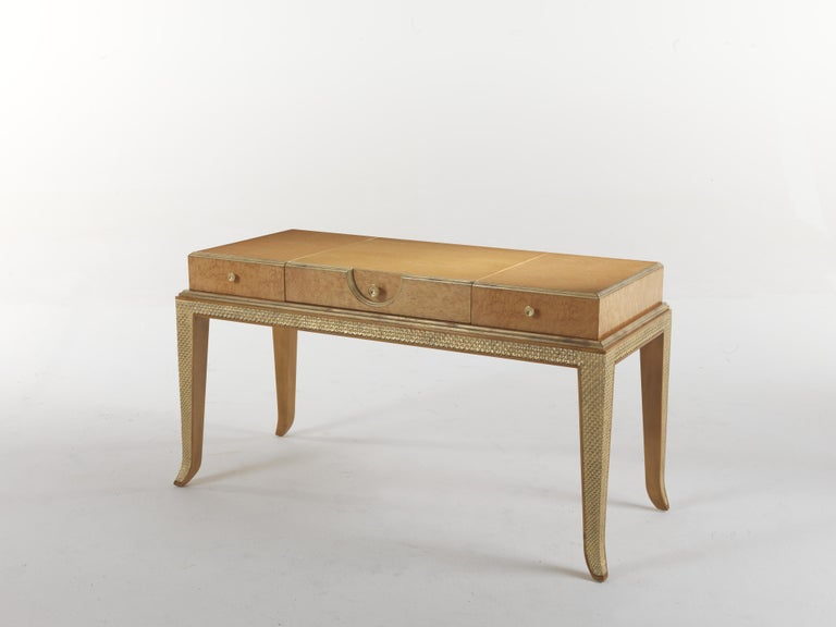 Italian Jumbo Collection Pleasure Toilette Dressing Table in Wood and Drawer in Leather For Sale