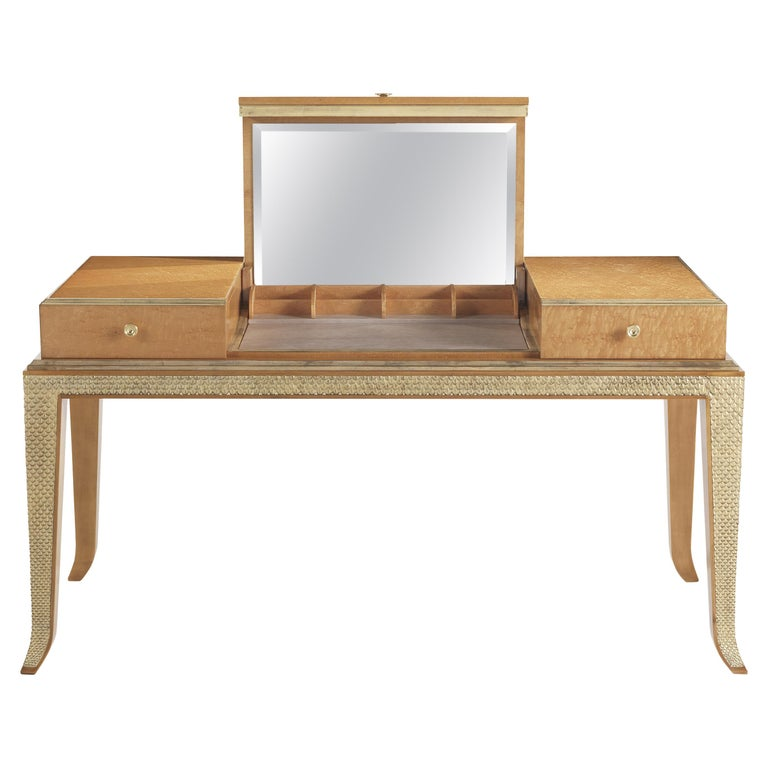 Jumbo Collection Pleasure Toilette Dressing Table in Wood and Drawer in Leather For Sale