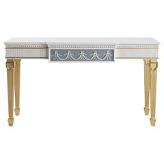 Jumbo Collection Portland Console Table in Wood and Ceramic