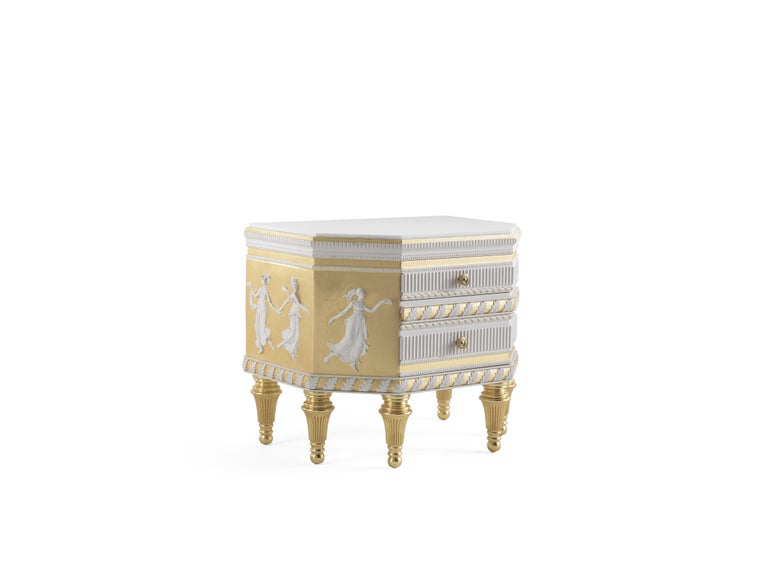 Italian Jumbo Collection Portland Night Table in Wood and Marble Top For Sale