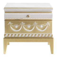 Jumbo Collection Portland Square Night Table in Wood and Marble Top