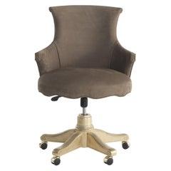 Jumbo Collection Rivoli Swivel Armchair in Wood and Brown Nabuk
