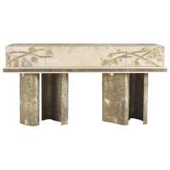 Jumbo Collection Shinto Console Table in Wood and Onyx