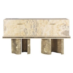 Jumbo Collection Shinto Dry Bar in Wood and Brass Base
