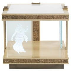 Jumbo Collection Shinto Side Table in Wood with Marble Top