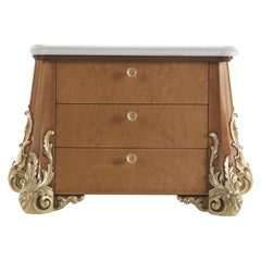 Jumbo Collection Sophie Chest of 3 Drawers in Wood and Onyx Top