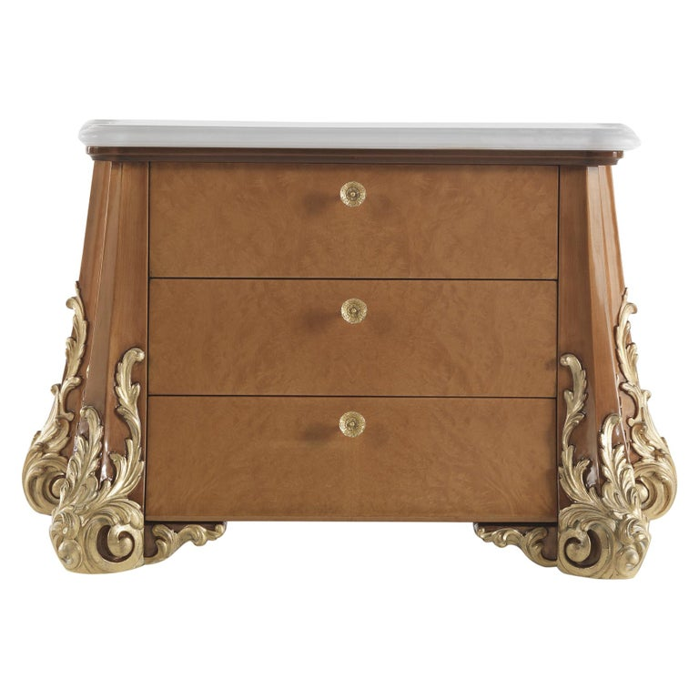 Jumbo Collection Sophie Night table in Wood and Onyx Top For Sale