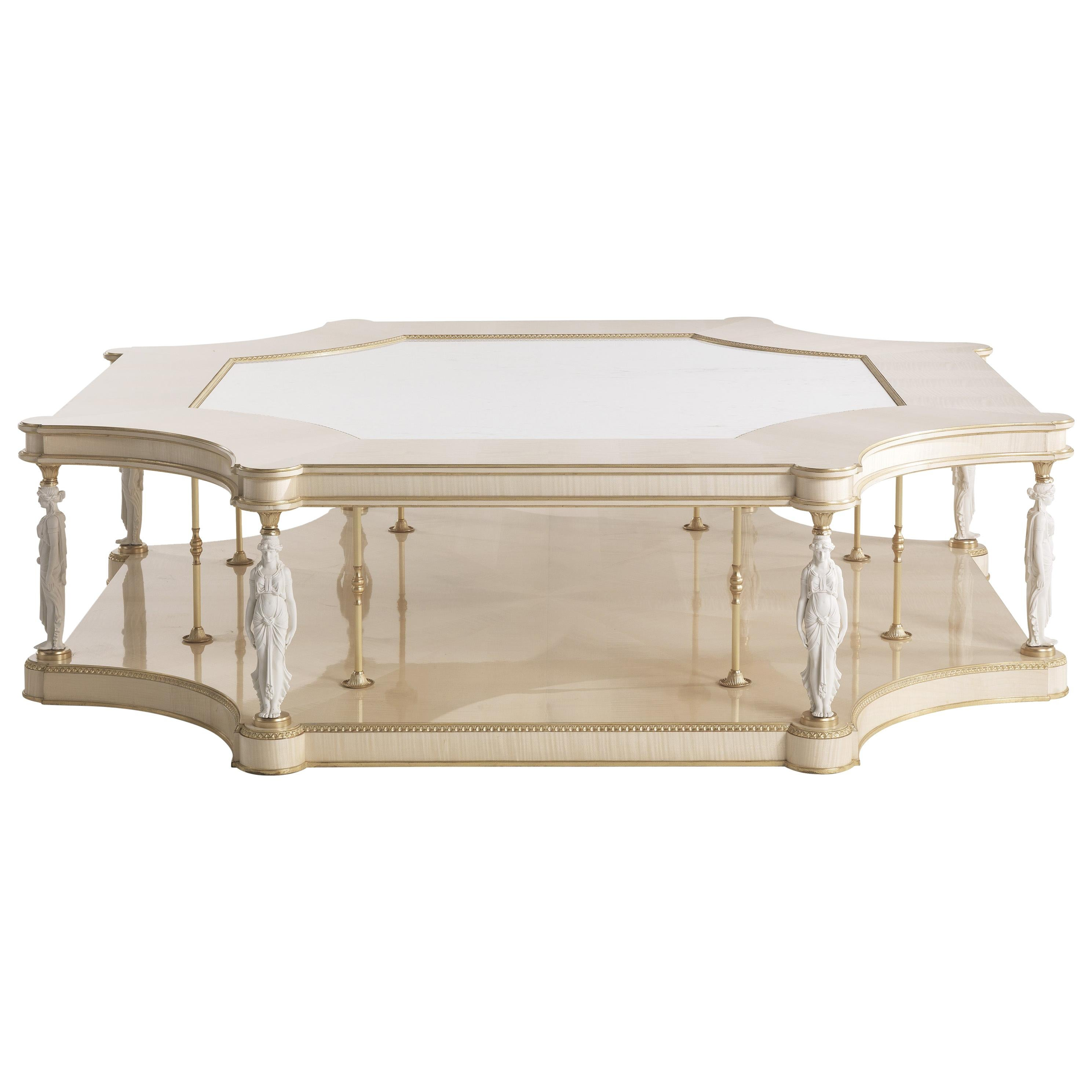 Jumbo Collection Toulouse Center Table in Wood and Marble Top