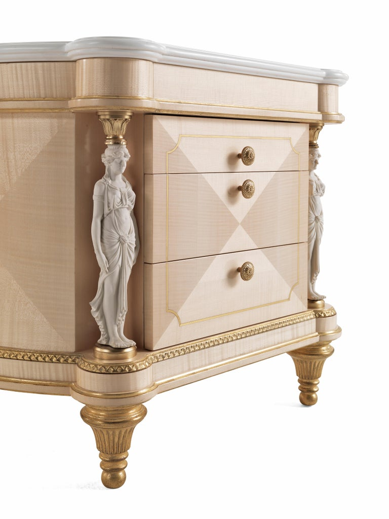 Modern Jumbo Collection Toulouse Night Table in Wood and Marble Top For Sale