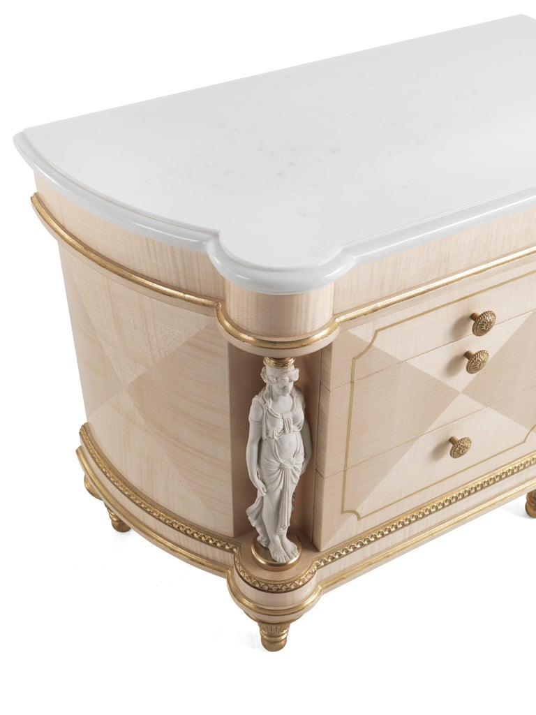 Italian Jumbo Collection Toulouse Night Table in Wood and Marble Top For Sale