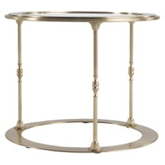 Jumbo Collection Toulouse Round Side Table in Casted Brass and Glass Top