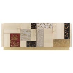 Jumbo Collection Ukiyo 4-Door Sideboard in Wood with Gold Finish Base