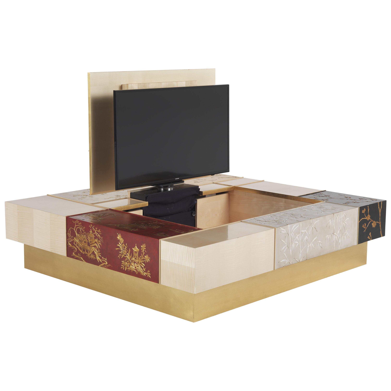 Jumbo Collection Ukiyo Center Table with TV Mechanism in Wood