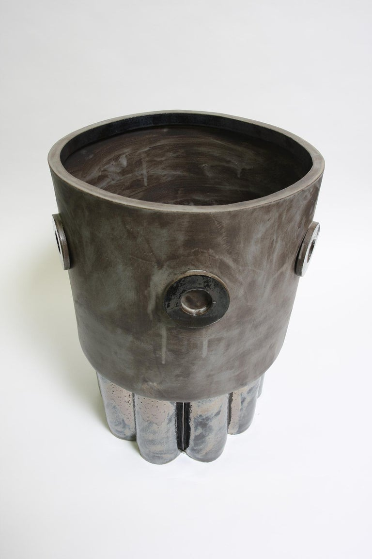 Jumbo contemporary ceramic acai matte/ palladium planter for indoor or outdoor use in specific climates. Unlimited edition, individual planters are unique in size, glaze, and shape which are well crafted by hand in our Los Angeles production
