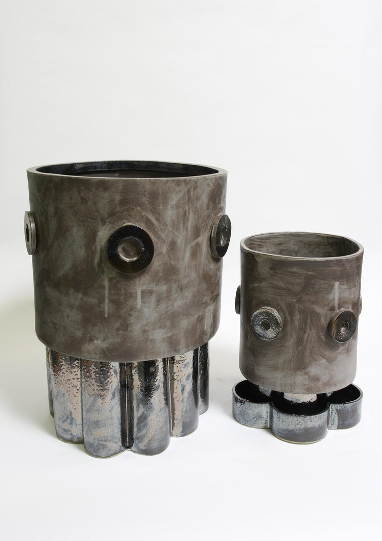 Modern Jumbo Contemporary Ceramic Acai Matte/ Palladium Planter For Sale