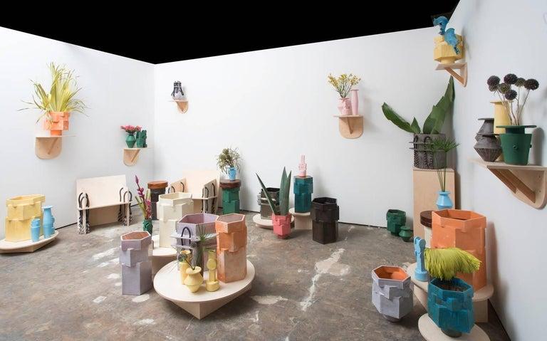 Glazed Jumbo Contemporary Ceramic Acai Matte/ Palladium Planter For Sale